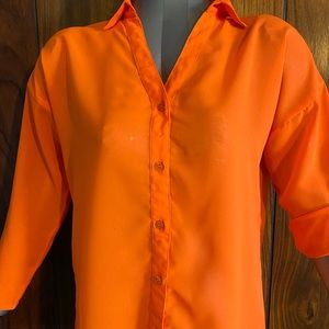 Orange button up blouse